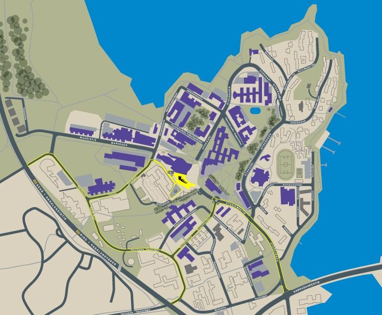 Kartta A Blocin pysäköintialueelle